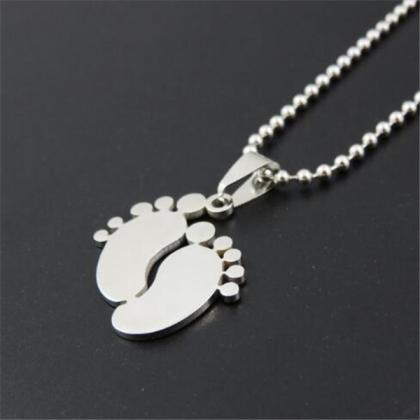 Namenskette Baby Füße Halskette