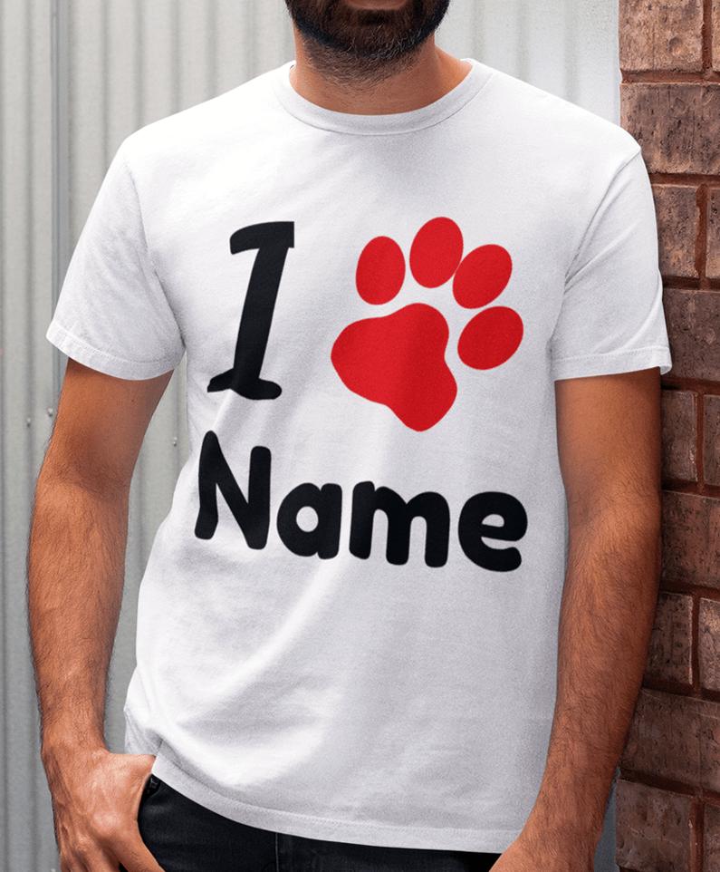 watch becfa 8b79a Hund T-Shirt für Herren mit I Pfote (Love) & Name gestalten