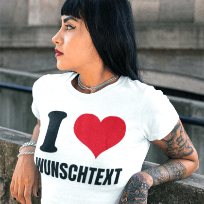 marken t-shirt damen i love herz