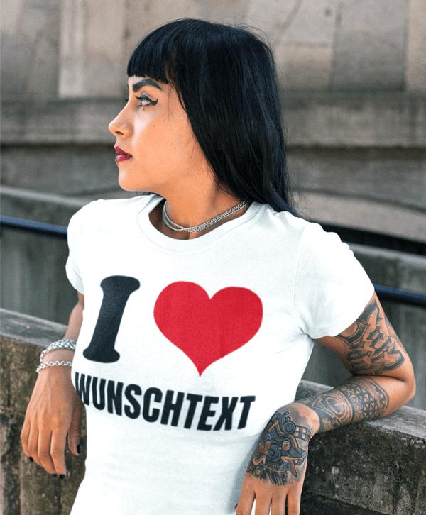 marken t-shirt damen i love herz