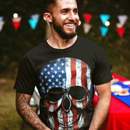 t-shirt Totenkopf usa skull