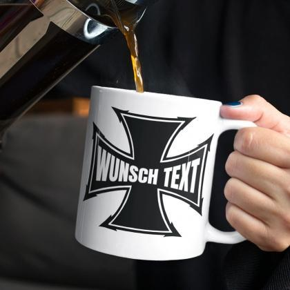 old school kreuz iron cross mug geschenk tasse biker